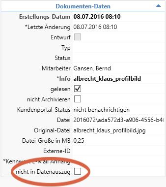 Dokumentenverwaltung Datenauszug