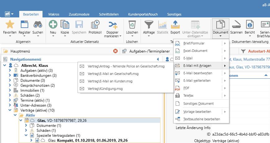 Dokumentenverwaltung - zuletzt benutzte Vorlagen