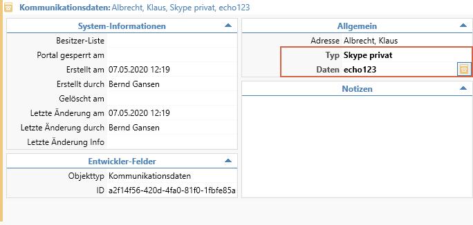 Kommuinaktionsdaten Skype