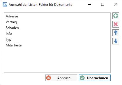 Dokumenten-Import Dialog Auswahl Listenfelder